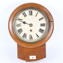 An early 20th century oak-cased drop-dial 30-hour wall clock, Roman numeral hour markers, dial