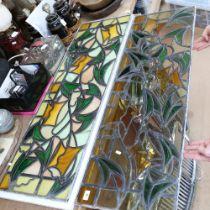 2 similar handmade stained glass leadlight window panels, 124cm x 39cm each (2)