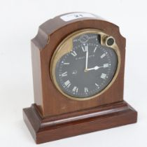 A Vintage Jaeger of Paris dashboard 8-day clock, converted to a mantel clock, with black dial and