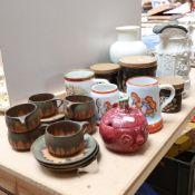 A Kaiser porcelain mug, and 2 similar mugs, Denby storage jar set, a Victorian moulded jug with