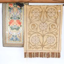 A Chinese silk embroidered panel, and another needlepoint embroidery (2)