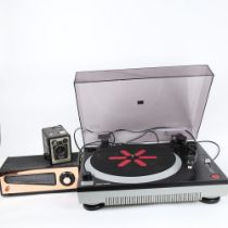 ION - a modern iTT02 turntable, a Pye High Fidelity VHF tuner, and a Vintage Brownie model D