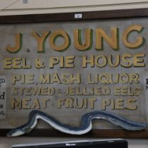 A large handmade shop advertising sign, for J Young Eel and Pie House, 66cm x 130cm