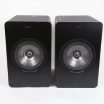KEF - a pair of black X300A wireless bookshelf loud speakers, with cabling