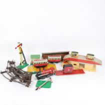 Various Vintage tinplate and other toys, including Hornby Dublo carriages and buildings (boxful)