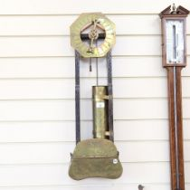 A stained oak and brass-mounted 24 hour water clock, base inscribed J Smithe of Ye Towne