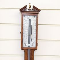 A mahogany mercury stick barometer, by Charles Aiano, height 100cm
