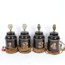 A set of 4 Vintage painted and gilded tea canisters converted to electric lamps, height excluding