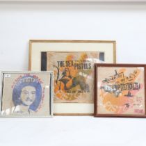 A group of 3 Sex Pistols printed fabric panels, including God Save The Queen, 33cm x 30cm, all