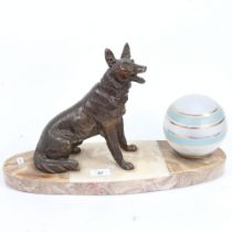 An Art Deco figural Alsatian dog lamp, sectional veined marble base, with spelter figure and