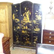 A 1920s Oriental design arch-top wardrobe, with allover chinoiserie decoration, W122cm, H205cm,