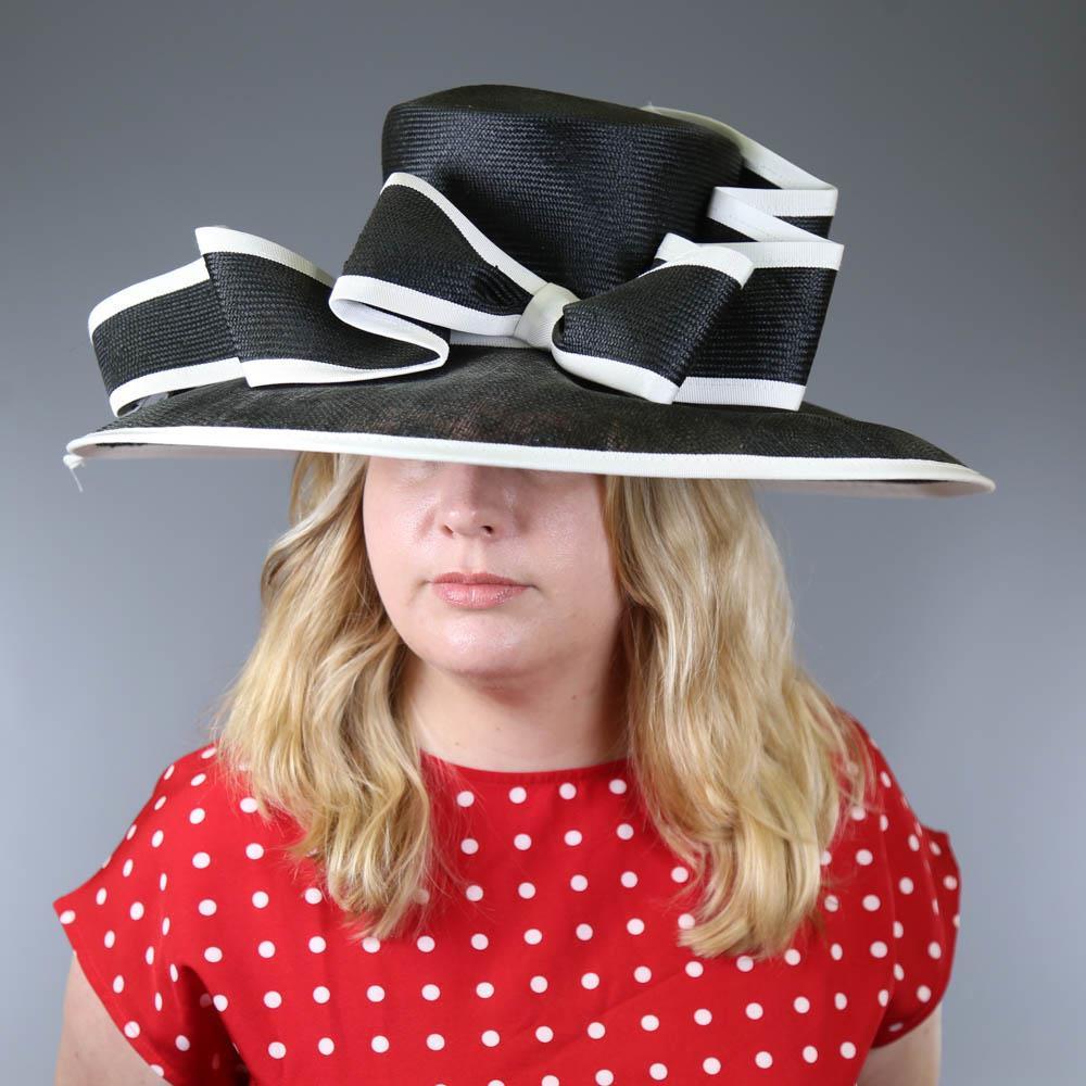 A HEADWAYS DESIGN FOR FRANK USHER - Monochrome black and white occasion hat, with bow detail and - Image 7 of 7