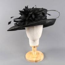 PETER BETTLEY LONDON - Black hat with feather diamanté detail, internal circumference 57cm, brim