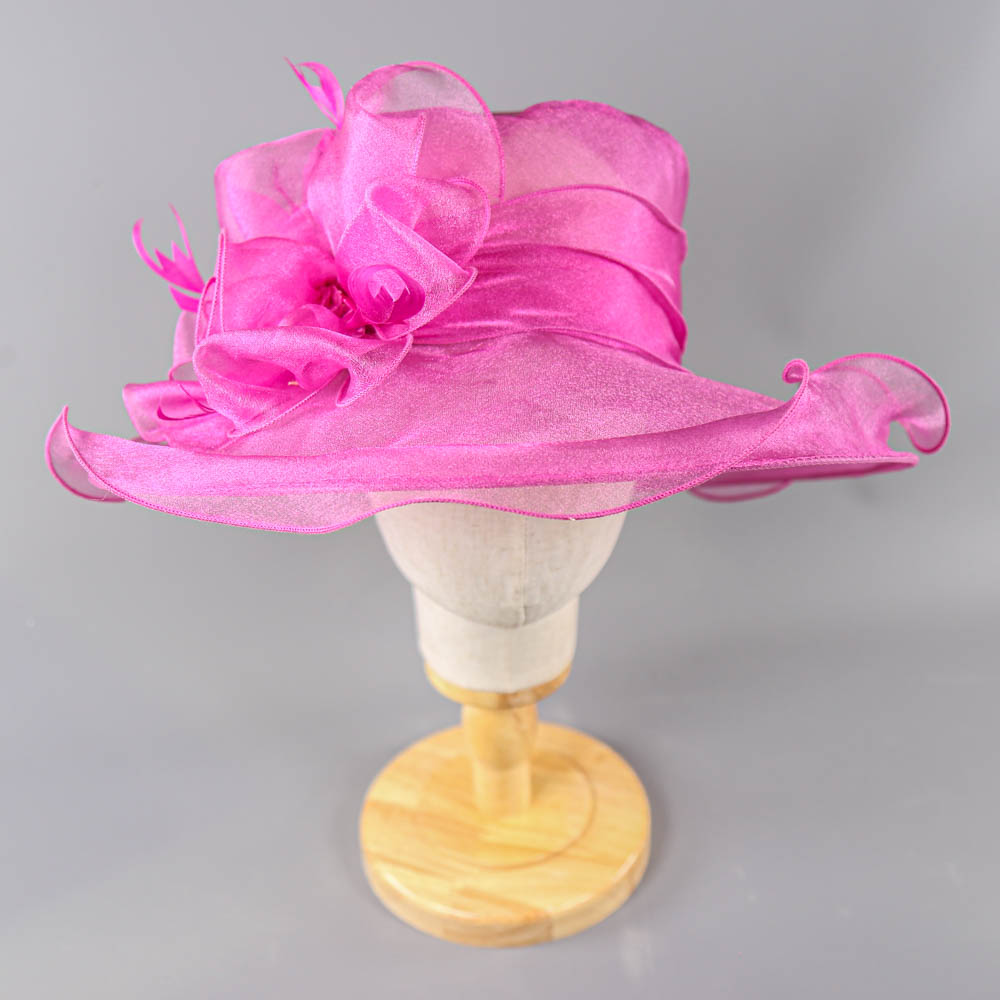 SUZANNE BETTLEY - Pink organza occasion hat, with organza rose and feather detail, internal - Image 2 of 6