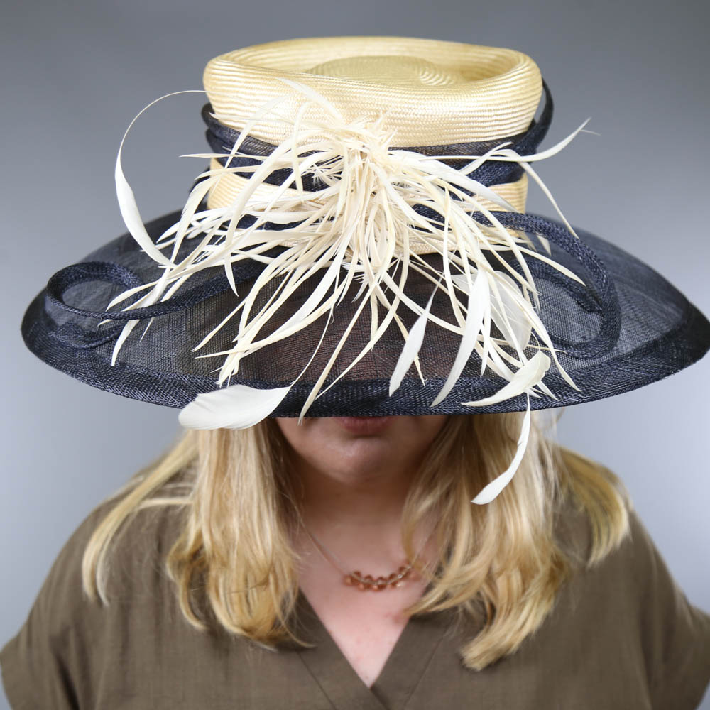 A HAT STUDIO DESIGN - Navy blue and straw occasion hat, with feather and twirl detail, internal - Image 6 of 6