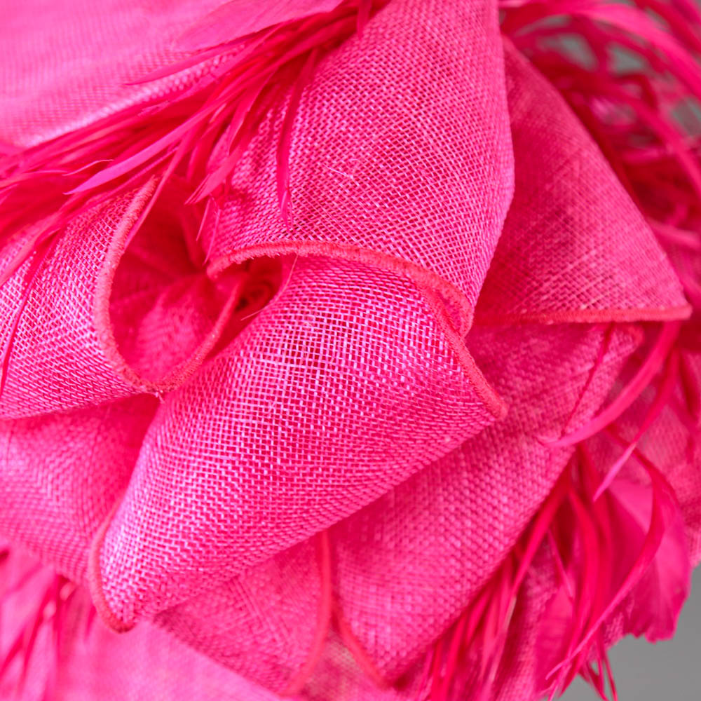 PETER BETTLEY LONDON - Fuchsia pink occasion hat, with feather and bow detail, internal - Image 4 of 7