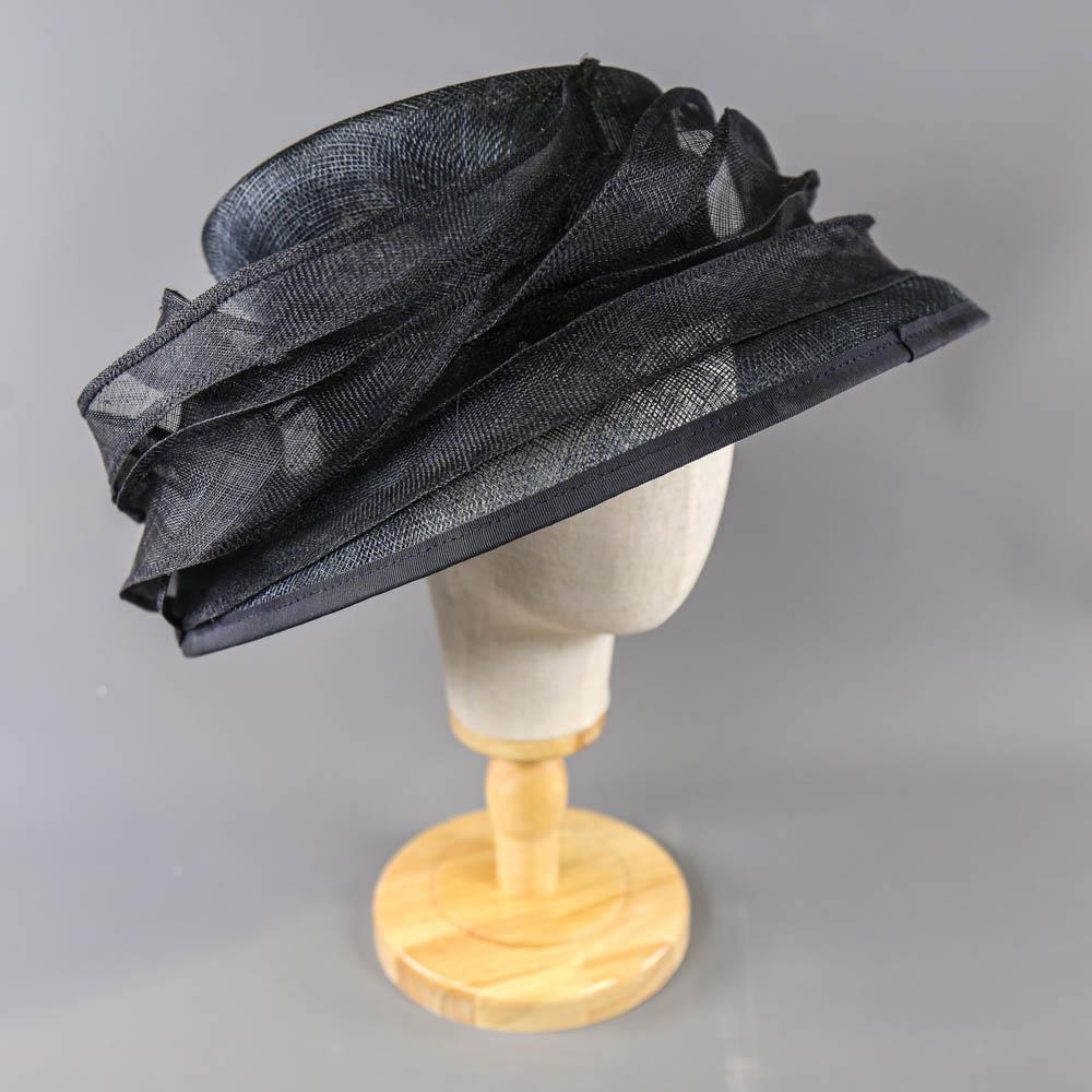 MY HATS GWYTHER-SNOXELLS ENGLISH MILLINERY - Dark navy blue occasion hat, with frill detail,