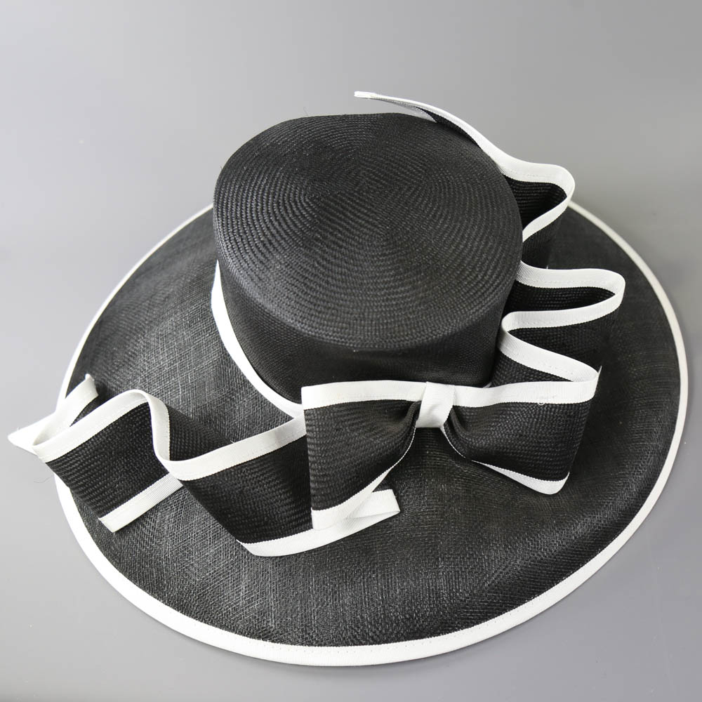 A HEADWAYS DESIGN FOR FRANK USHER - Monochrome black and white occasion hat, with bow detail and - Image 6 of 7
