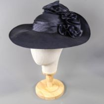 KANGOL COLLECTION - Navy blue occasion hat, with frill detail at the back, internal circumference