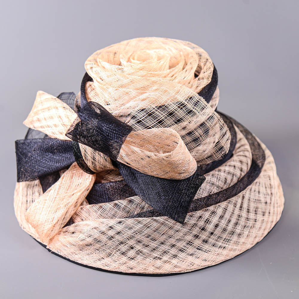 VICTORIA ANN - Navy blue and pink occasion hat, with bow detail, internal circumference 55cm, brim - Image 6 of 7