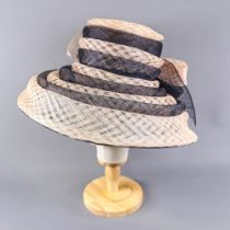 VICTORIA ANN - Navy blue and pink occasion hat, with bow detail, internal circumference 55cm, brim
