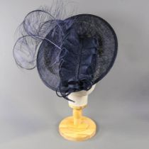 SUZANNE BETTLEY - Navy blue fascinator, with feather detail, headband fastening, overall width