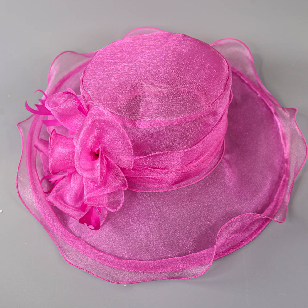 SUZANNE BETTLEY - Pink organza occasion hat, with organza rose and feather detail, internal - Image 6 of 6