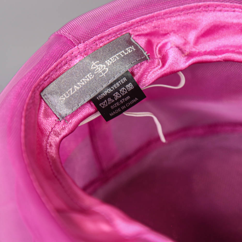 SUZANNE BETTLEY - Pink organza occasion hat, with organza rose and feather detail, internal - Image 5 of 6