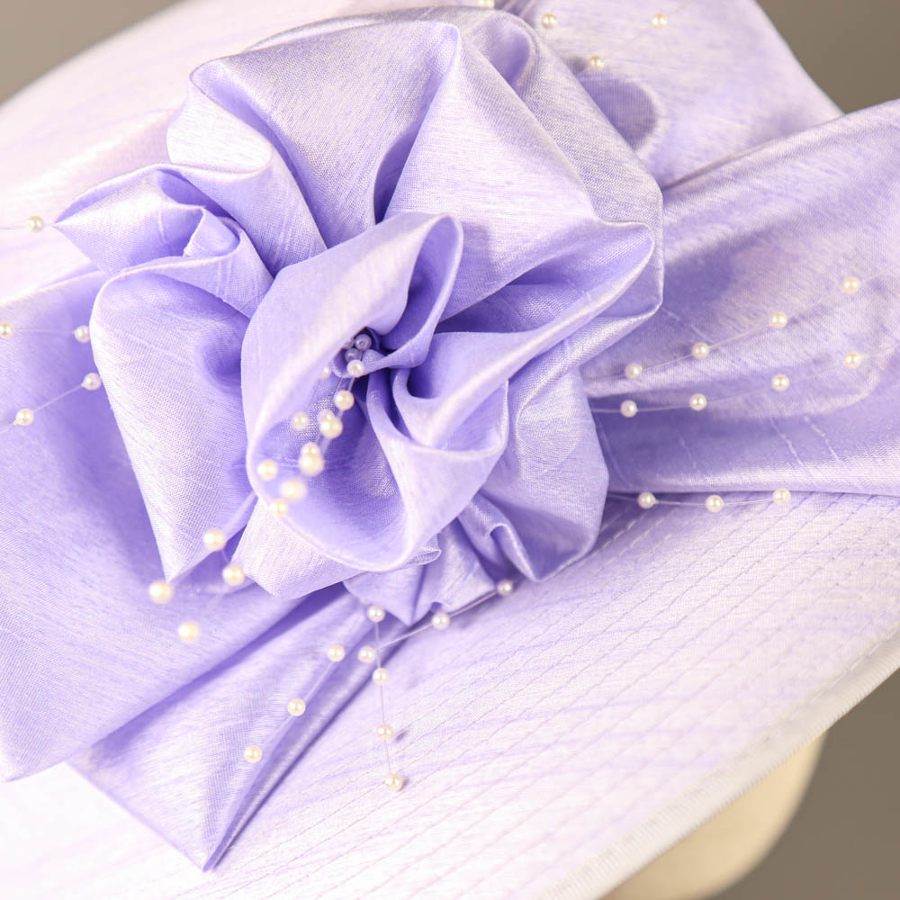 NIGEL RAYMENT - Lavender lilac purple hat, with bow and pearl detail, internal circumference 55cm, - Image 4 of 7
