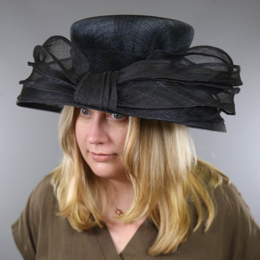 MY HATS GWYTHER-SNOXELLS ENGLISH MILLINERY - Dark navy blue occasion hat, with frill detail, - Image 7 of 7