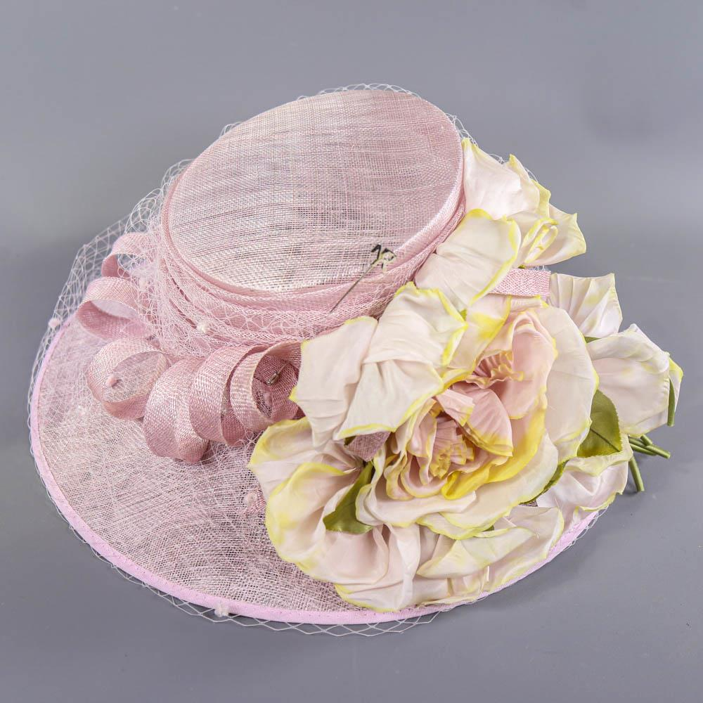 NIGEL RAYMENT - Soft lilac occasion hat, with flower and twirl and net and hat pin detail, - Image 5 of 7