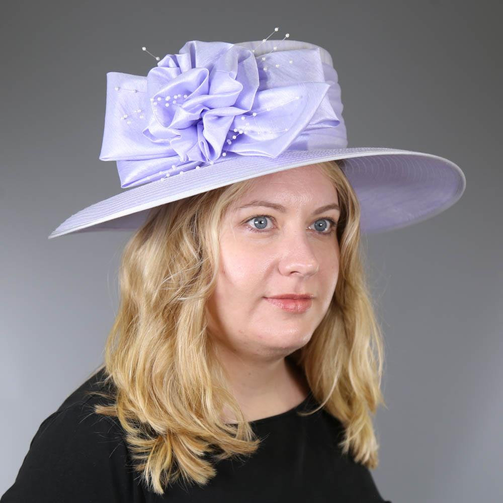 NIGEL RAYMENT - Lavender lilac purple hat, with bow and pearl detail, internal circumference 55cm, - Image 7 of 7