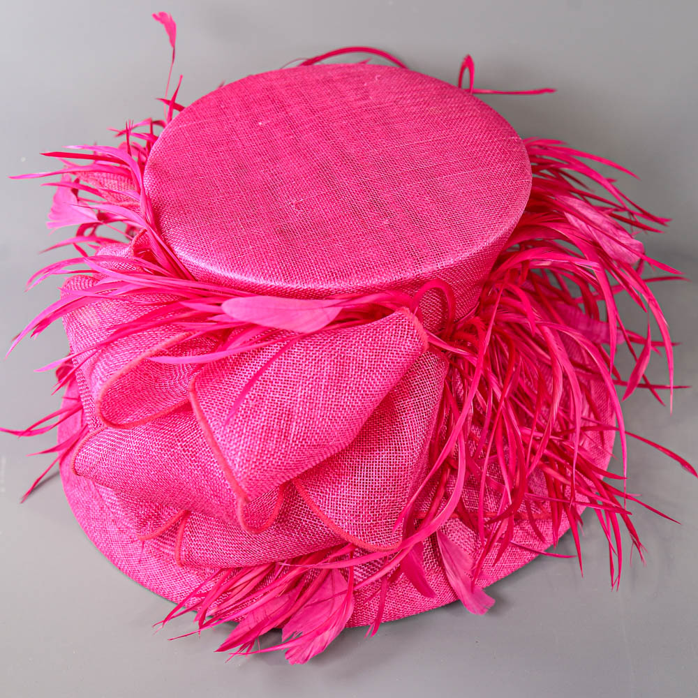 PETER BETTLEY LONDON - Fuchsia pink occasion hat, with feather and bow detail, internal - Image 6 of 7