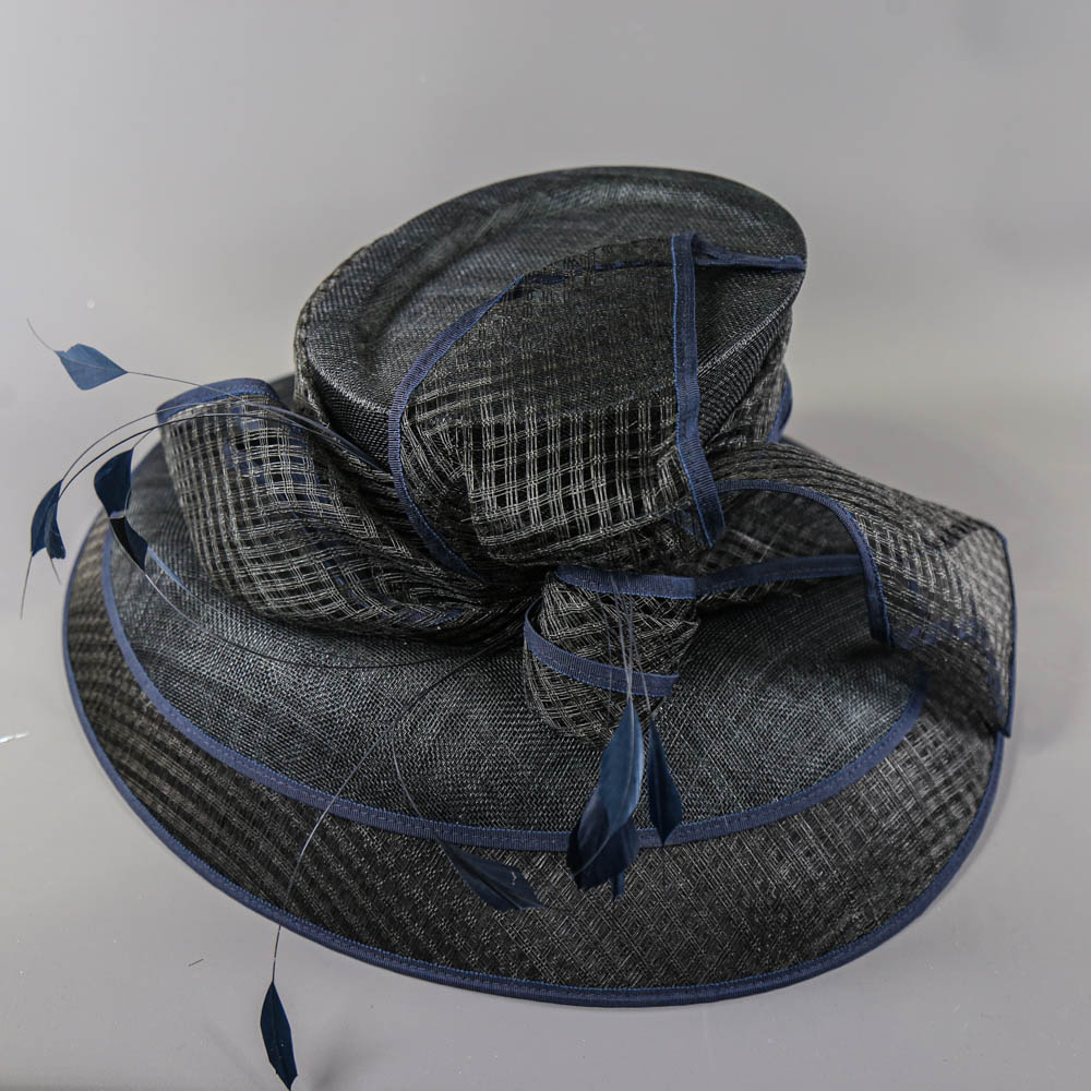 PETER BETTLEY LONDON - Black and navy blue occasion hat, with feather and bow detail, internal - Image 6 of 7