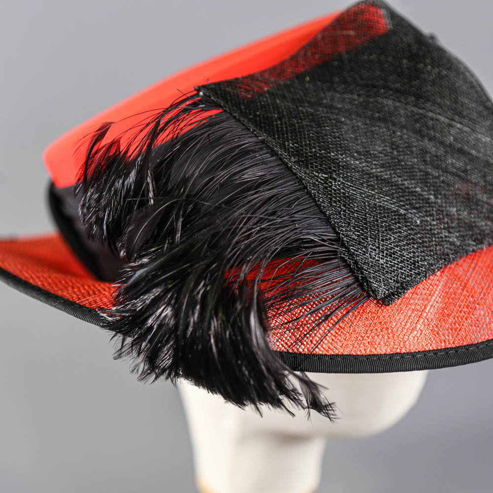 CAPPELLI CONDICI - Red and black occasion hat, with feather detail, internal circumference 55cm, - Image 6 of 8