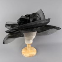 PETER BETTLEY LONDON - Black occasion hat, with feather and twirl detail, internal circumference