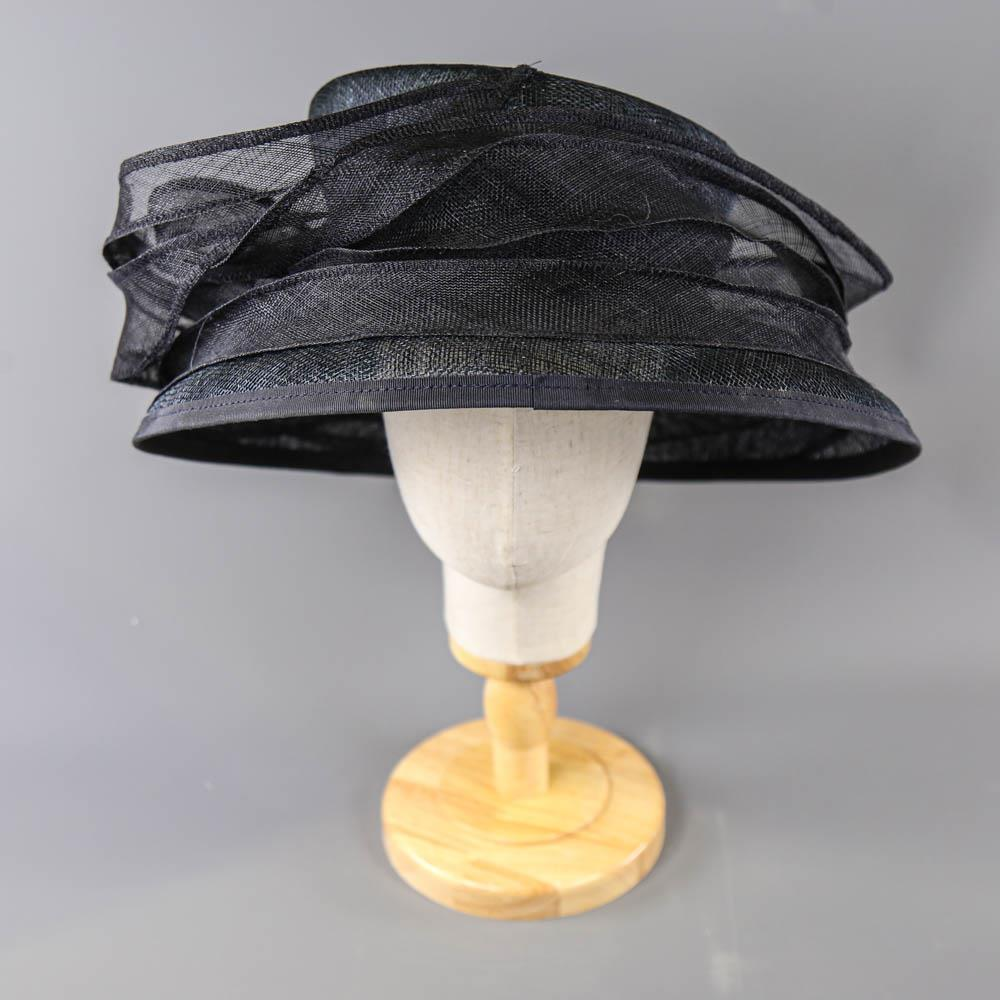 MY HATS GWYTHER-SNOXELLS ENGLISH MILLINERY - Dark navy blue occasion hat, with frill detail, - Image 2 of 7