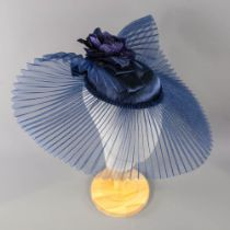 FREDRICK FOX - Navy blue fascinator, with flower and bow detail, elastic fastening, veil width
