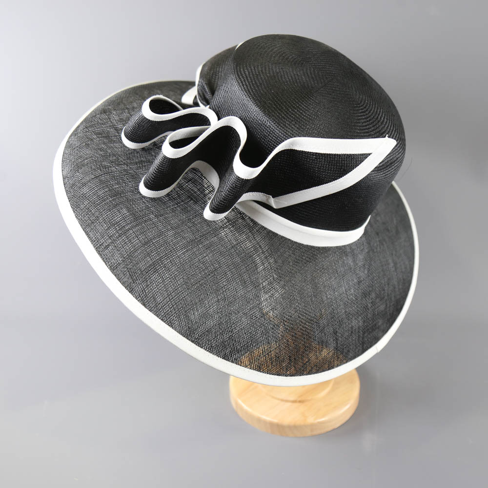A HEADWAYS DESIGN FOR FRANK USHER - Monochrome black and white occasion hat, with bow detail and - Image 2 of 7