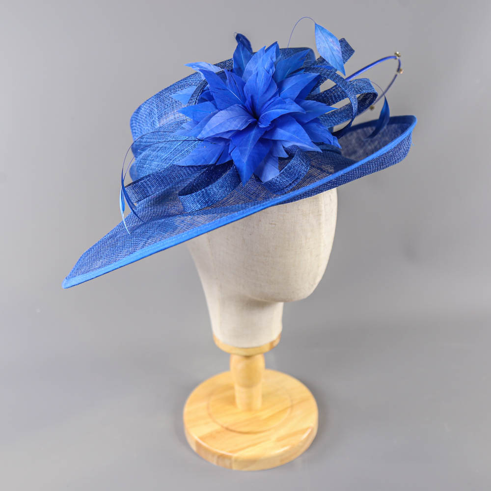 PETER BETTLEY LONDON - Royal blue occasion hat, with feather flower and diamanté twirl detail, - Image 2 of 7