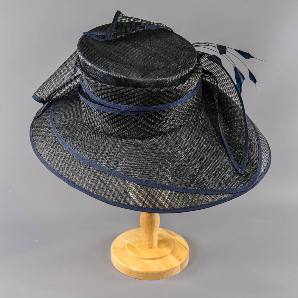 PETER BETTLEY LONDON - Black and navy blue occasion hat, with feather and bow detail, internal - Image 3 of 7