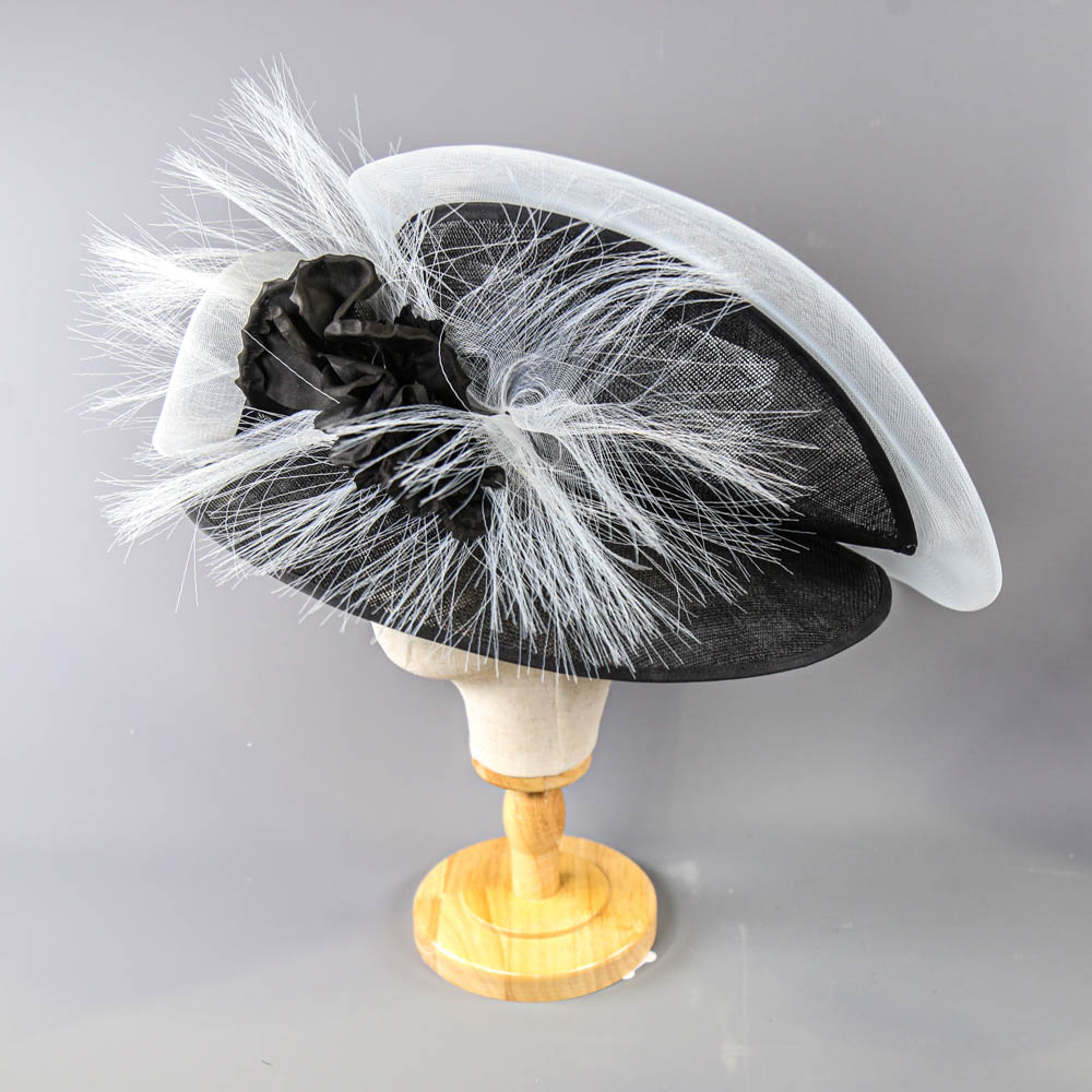 PETER BETTLEY LONDON - Black and white occasion hat, with flower and frayed mesh detail, internal - Image 3 of 8