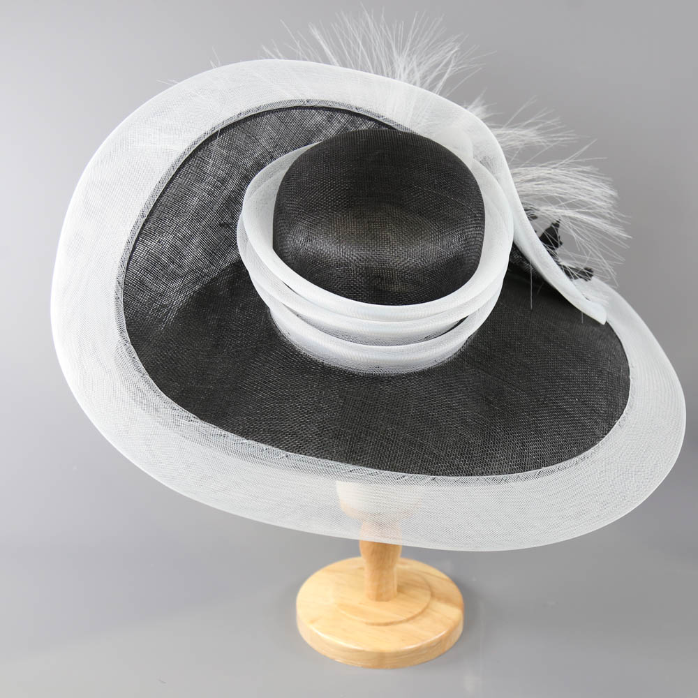 PETER BETTLEY LONDON - Black and white occasion hat, with flower and frayed mesh detail, internal - Image 4 of 8