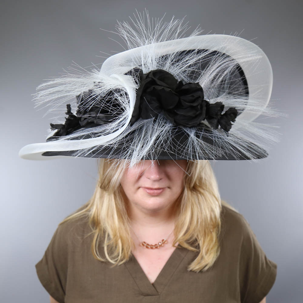 PETER BETTLEY LONDON - Black and white occasion hat, with flower and frayed mesh detail, internal - Image 8 of 8