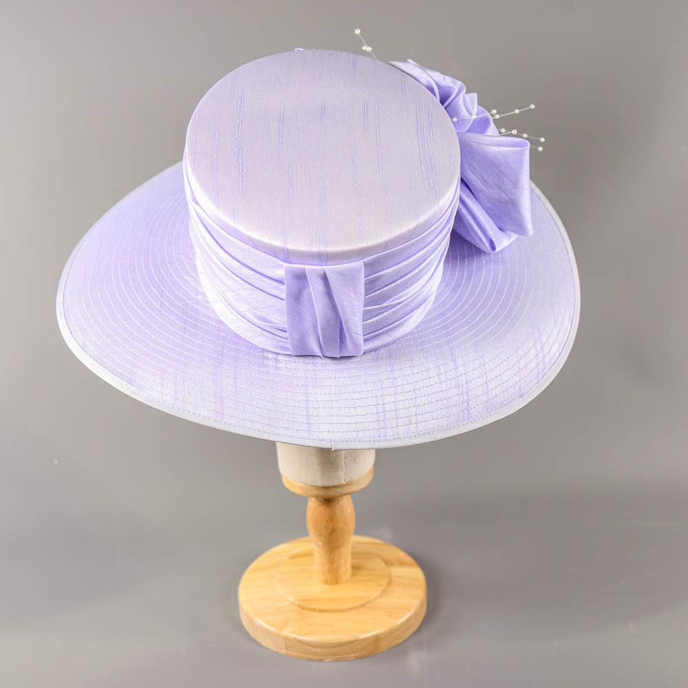 NIGEL RAYMENT - Lavender lilac purple hat, with bow and pearl detail, internal circumference 55cm, - Image 3 of 7