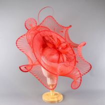 PETER BETTLEY LONDON - Large red fascinator, with feather, bead and twirl detail, headband and