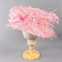 PETER BETTLEY LONDON - Pink occasion hat, with feather and bow detail, internal circumference