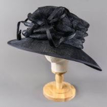 VICTORIA ANN - Dark navy blue occasion hat, with detail to the side, internal circumference 55cm,