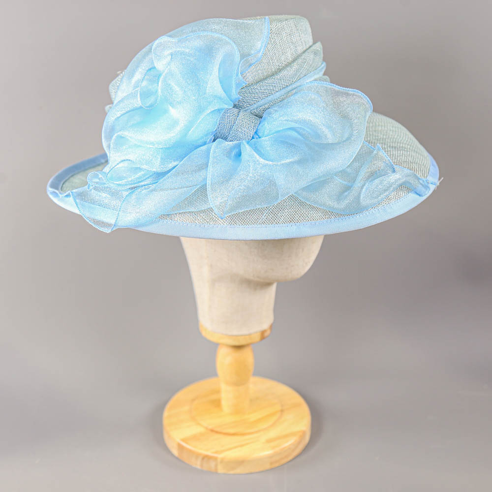 A HAT STUDIO DESIGN - Powder blue occasion hat, with organza bow, internal circumference 55cm,
