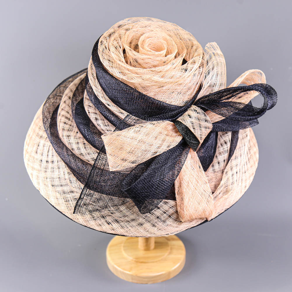 VICTORIA ANN - Navy blue and pink occasion hat, with bow detail, internal circumference 55cm, brim - Image 2 of 7